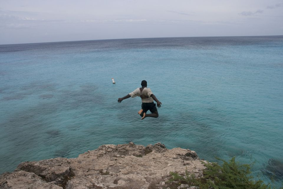 Cliff jump at Playa Abou in Curacao