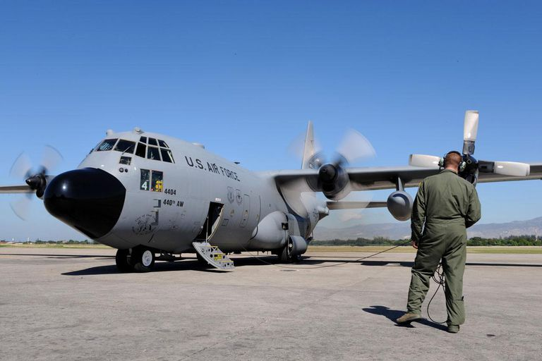 Staff Sgt. Rich Mumma conducts engine start up checks on his C-130 Hercules Jan. 15, 2010 prior to leaving Port-au-Prince, Haiti. Sgt. Mumma is a loadmaster from the 43rd Operations Support Squadron, Pope Air Force Base, Fayetteville, North Carolina. U.S. Southern Command is deploying assets to Haiti to conduct search and rescue operations, damage assessments, and transitions sustained Humanitarian Assistance/Disaster Relief operations in order to prevent human suffering and additional loss of life.