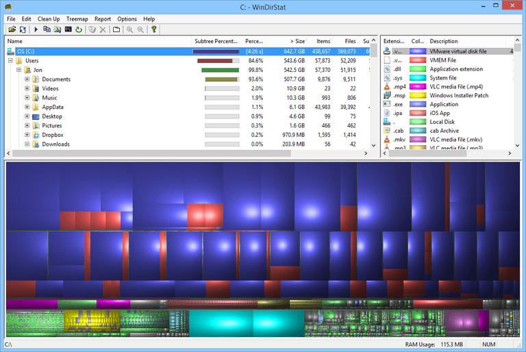 Screenshot of WinDirStat in Windows 8