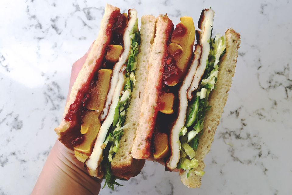 Sweet and Spicy Halloumi Sandwich with Roasted Squash and Brussels Sprouts Slaw