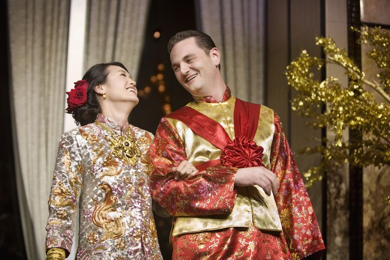 Chinese bride and bridegroom