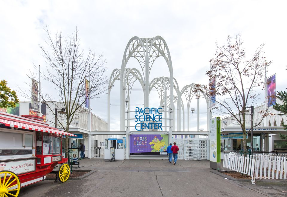 entrance of seattle pacific science center in gloomy day