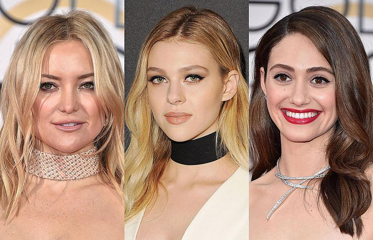 Kate Hudson, Nicola Peltz, and Emmy Rossum wearing chocker necklaces at the Golden Globes, 2016