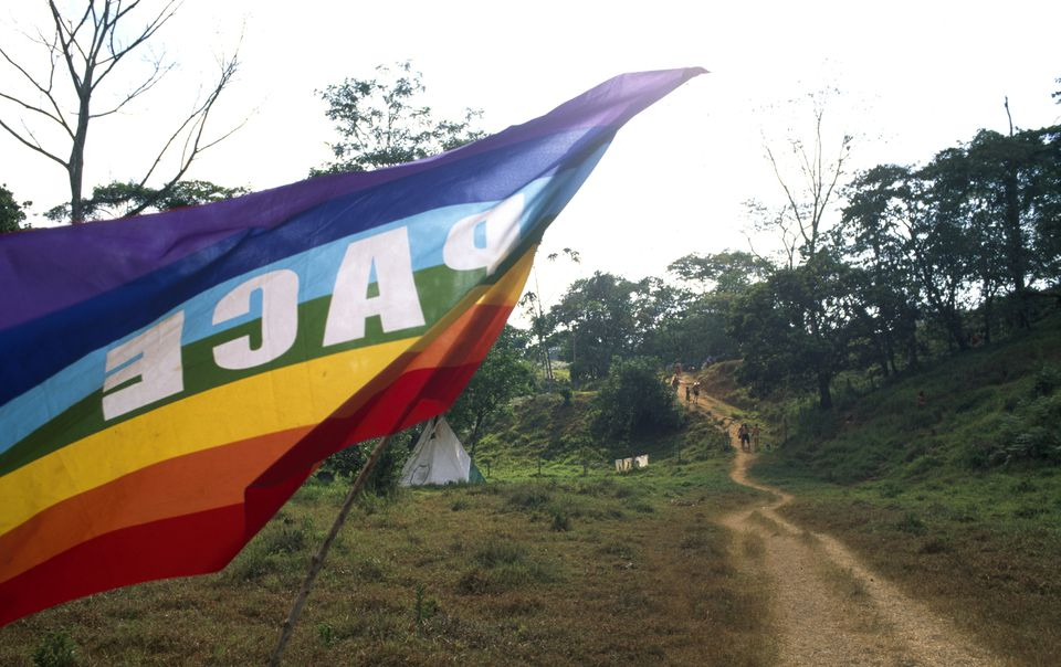 World rainbow gathering at remote area in Southern Costa Rica, South America