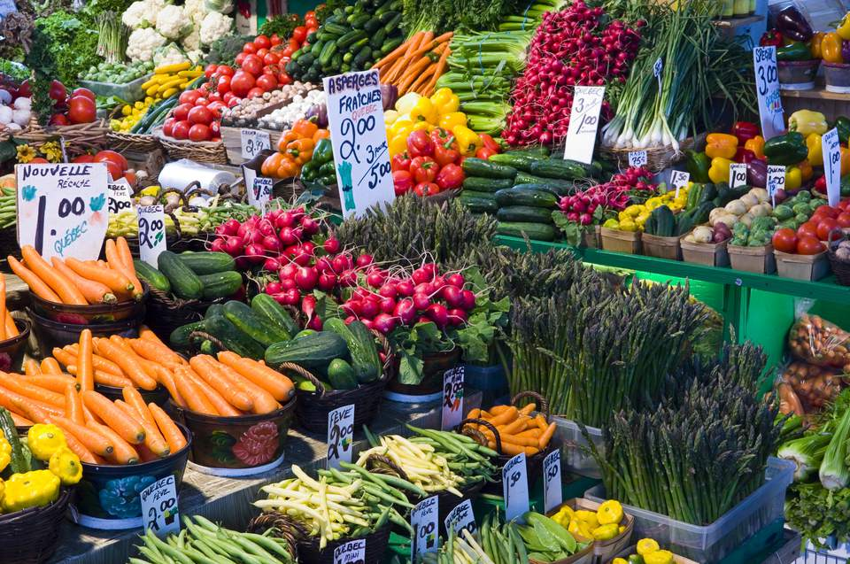 Canada, Quebec, Jean Talon Market in Montreal with an array of fresh fruit and vegetables