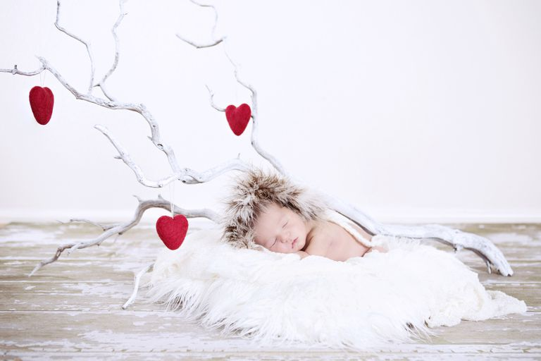 Sleeping Winter Baby with Heart Branches