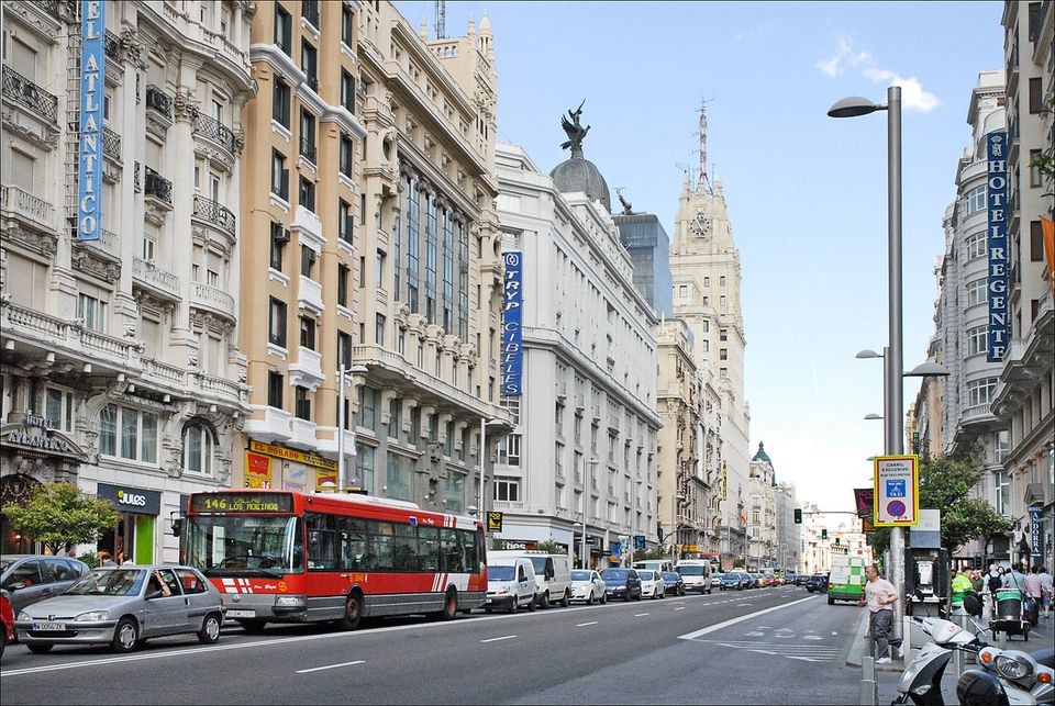 A view from Gran Vía, a downtown avenue in Madrid (Spain).