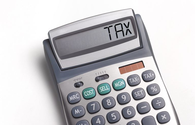 Tax written on a calculator