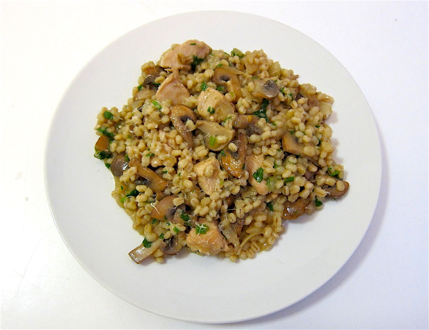 Mushroom Barley Risotto With Chicken