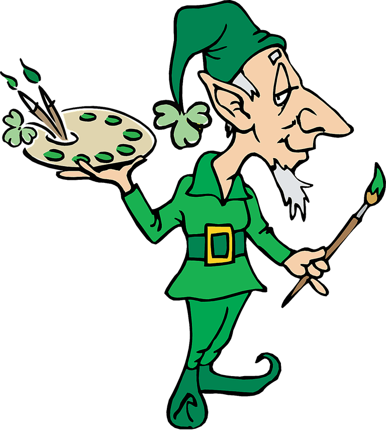 Clip Art of A Leprechaun Artist