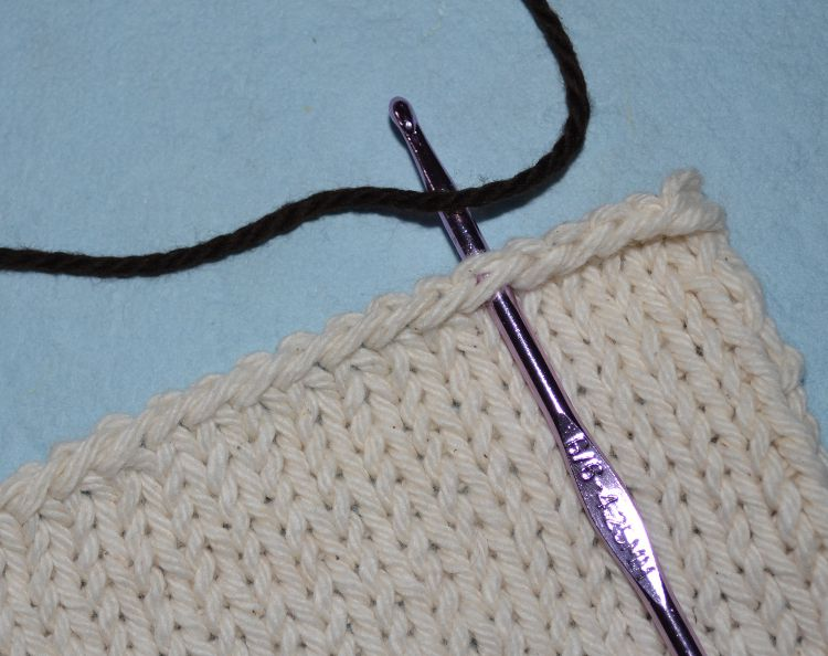 Single Crochet around knitting