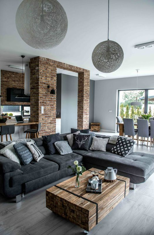 Gray sofas in a modern living room