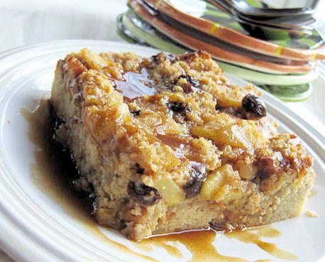 Gluten-free apple bread pudding with bourbon sauce