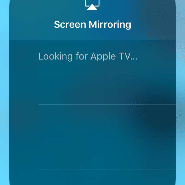 Screenshot of an iPhone looking for an Apple TV