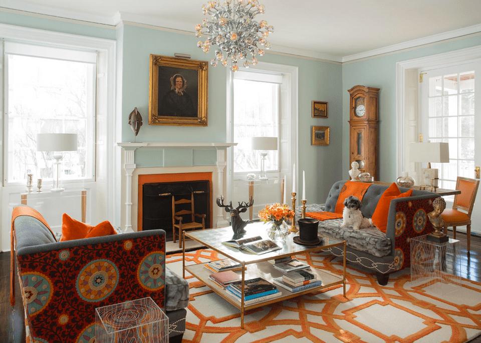 Orange and aqua living room