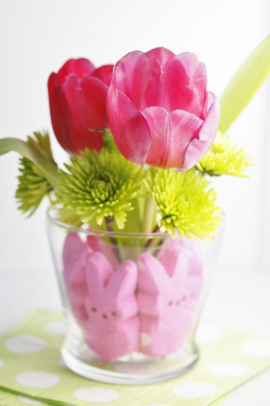 DIY Tulip And Peeps Centerpiece