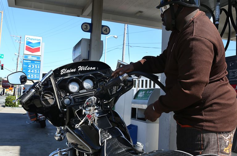 motorcycle at a Chevron gas station