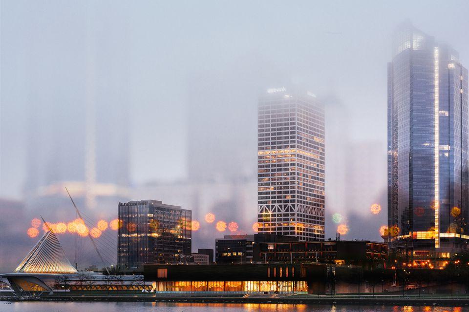 Milwaukee's skyline in the fog.