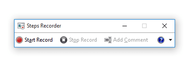 Screenshot of Steps Recorder in Windows 10