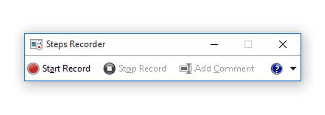 Screenshot of Steps Recorder in Windows 10
