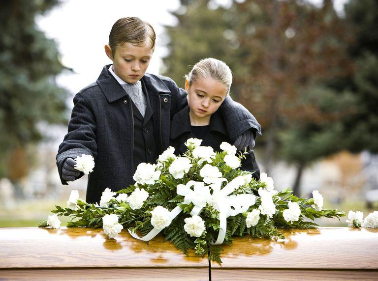 Children in front of casket