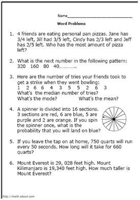 Fifth grade math problems