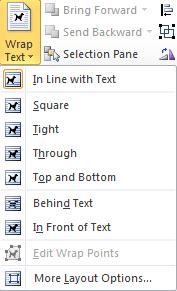 Wrap Text drop-down menu