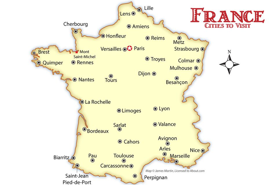 France Cities Map And Travel Guide - Map of france