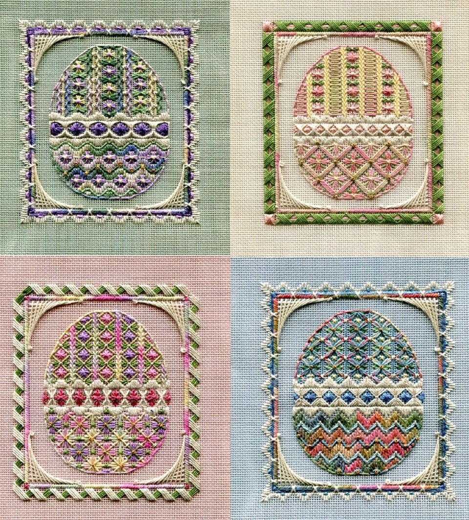 egg needlepoint designs on colored canvas