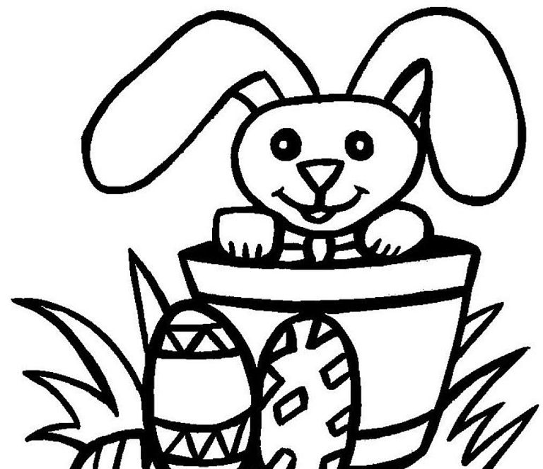 An Easter Bunny In A Basket Free Kids Coloring