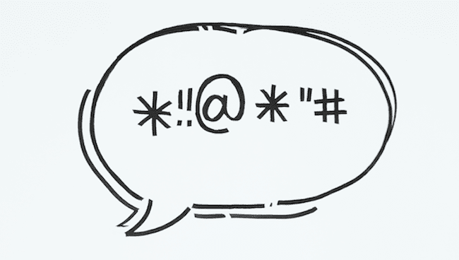 Punctuation marks in a speech bubble