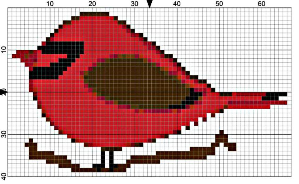 Cardinal Bird Needlepoint Design