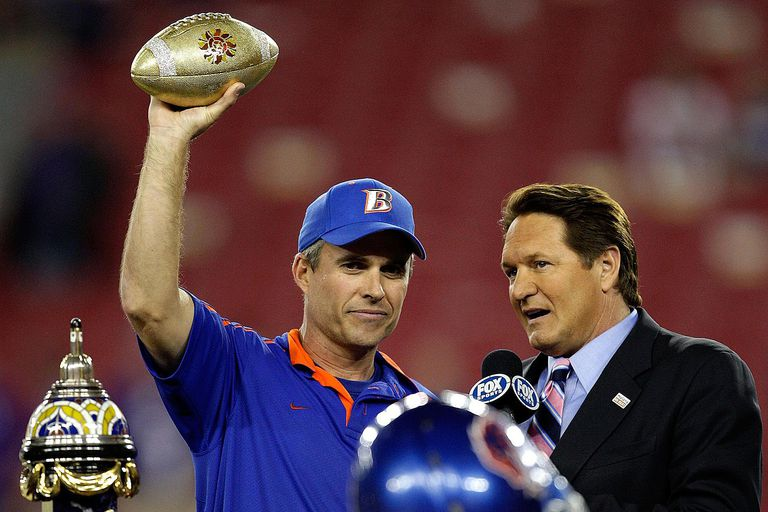 GLENDALE, AZ - JANUARY 04: Head coach Chris Petersen of the Boise State Broncos celebrates after defeating the TCU Horned Frogs 17-10 during the Tostitos Fiesta Bowl at the Universtity of Phoenix Stadium on January 4, 2010 in Glendale, Arizona.