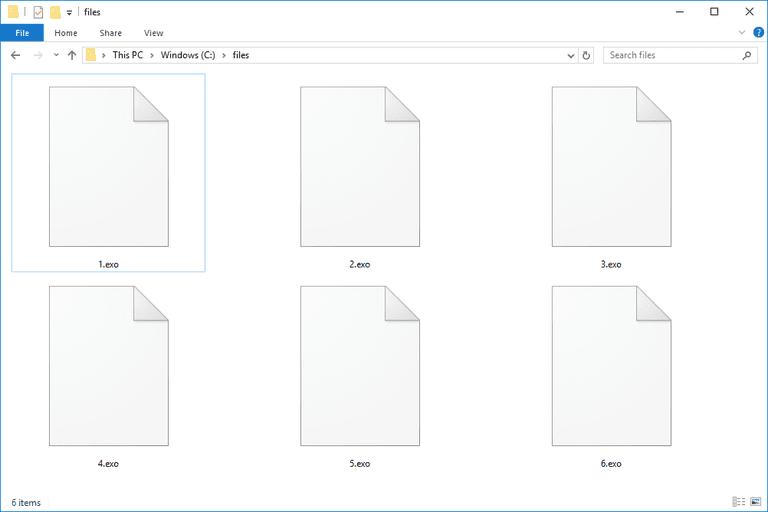 Screenshot of several EXO files in Windows 10