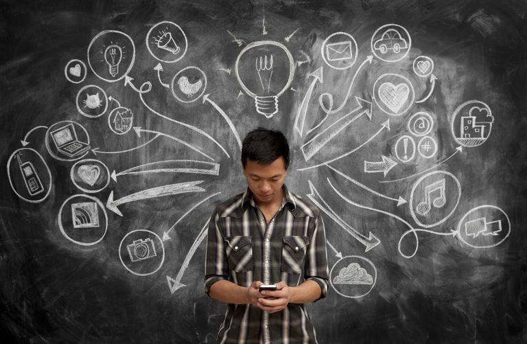 Male using phone by chalkboard w/social media icon