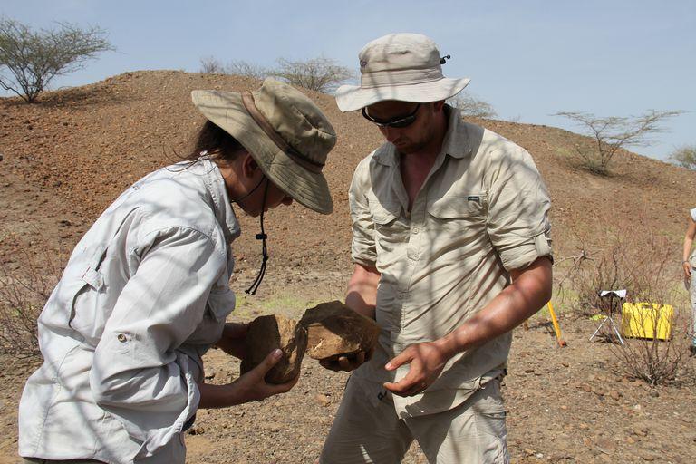 Authors Sonia Harmand and Jason Lewis Examining Stone Tools.at Lomekwi 3