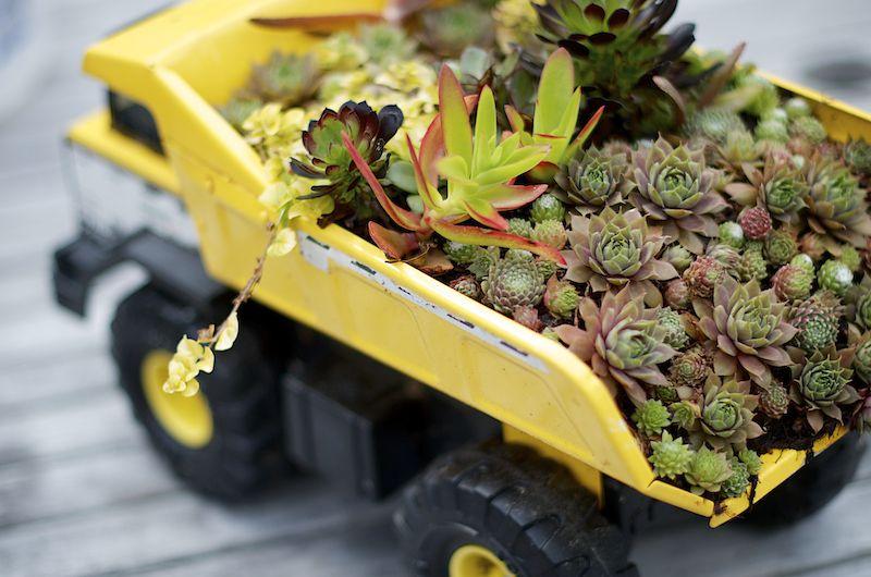 A Tonka truck garden