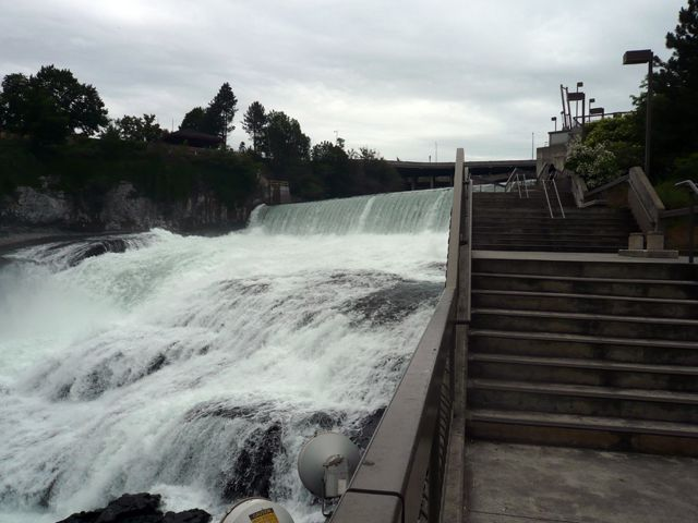View of the Spokane Falls in Downtown Spokane Washington