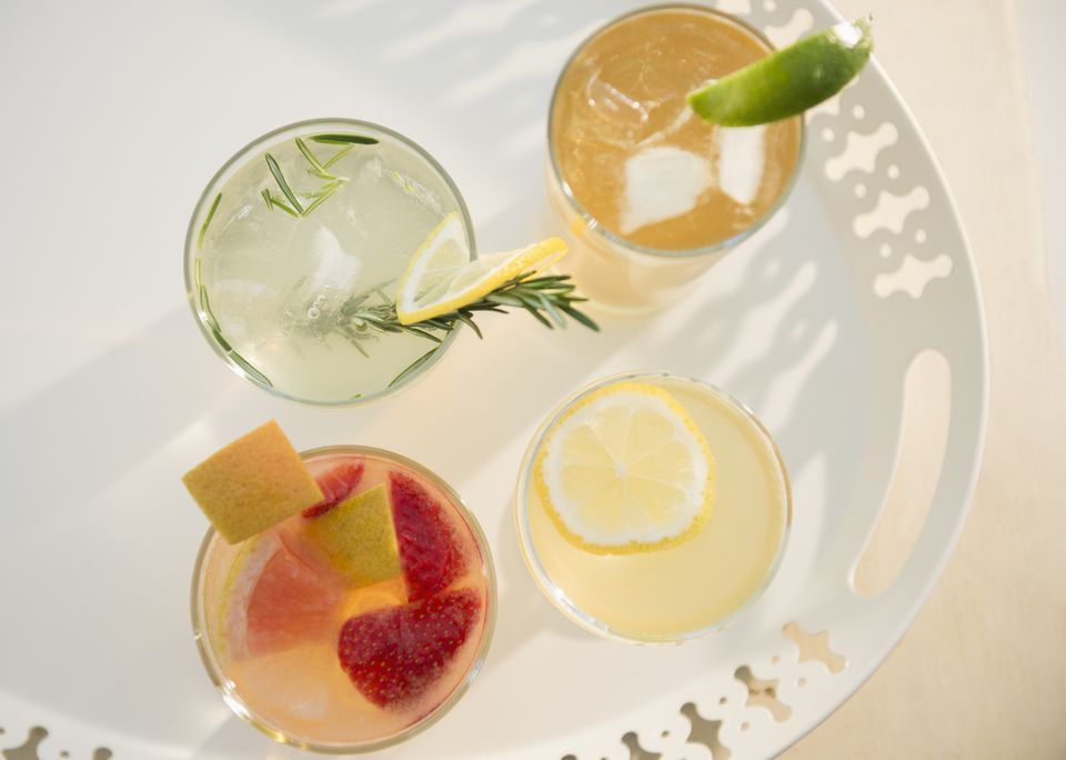 selection of cocktails on a white tray