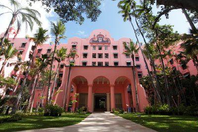 Coconut Grove Garden and Exterior of The Royal Hawaiian