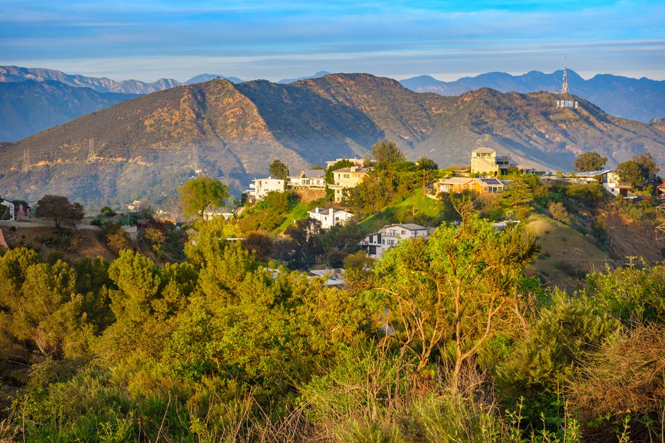 Photo of a Hollywood Hills landscape at Mulholland Drive with residential area and distant mansions