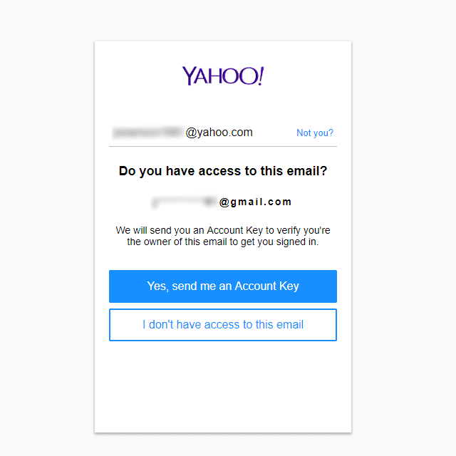 Screenshot of the Yahoo sign-in helper page if you have access to your secondary email account