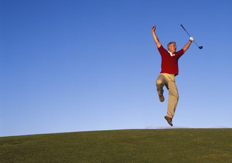 Celebrating golfer