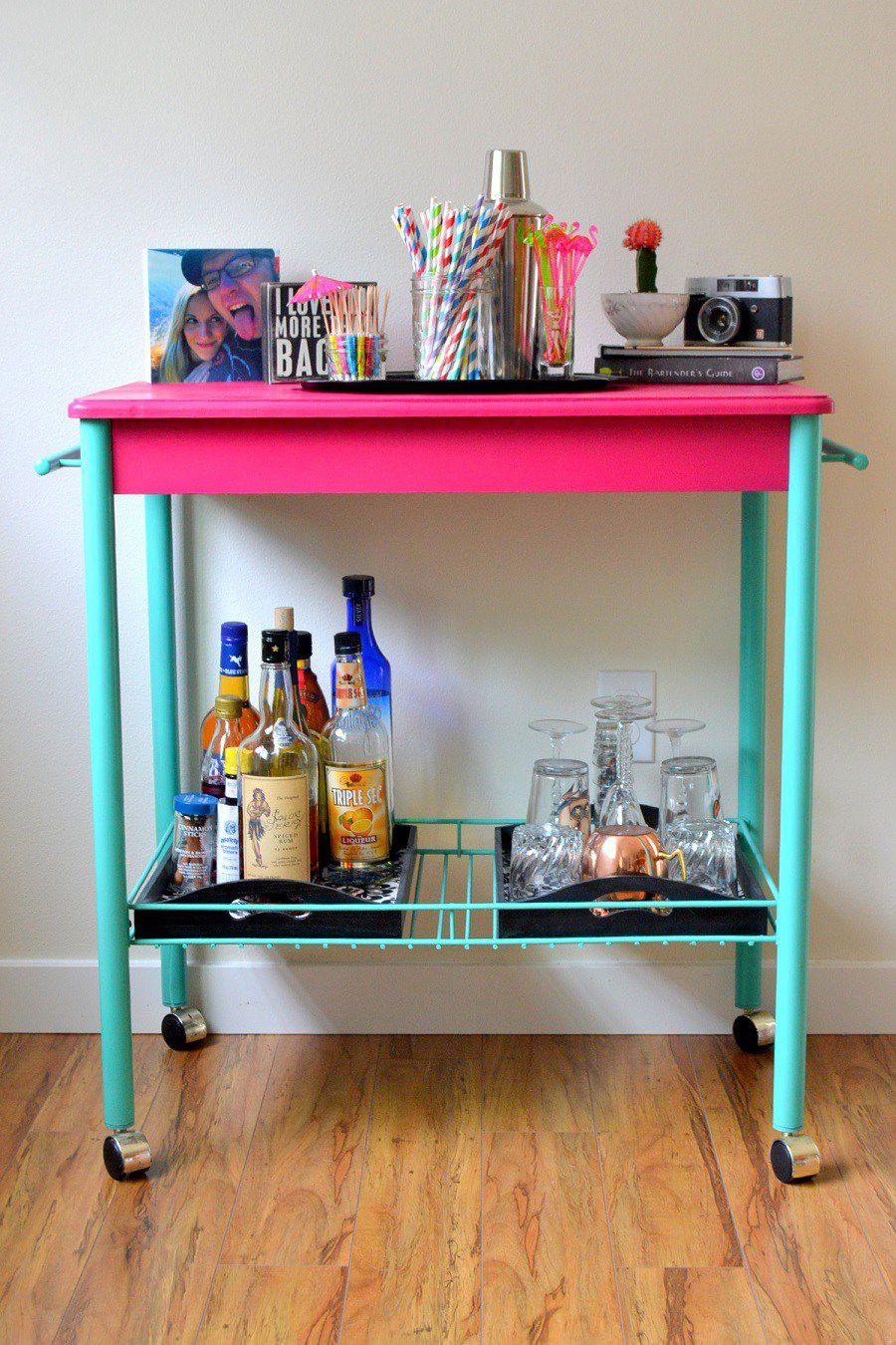 DIY Bright and Bold Bar Cart