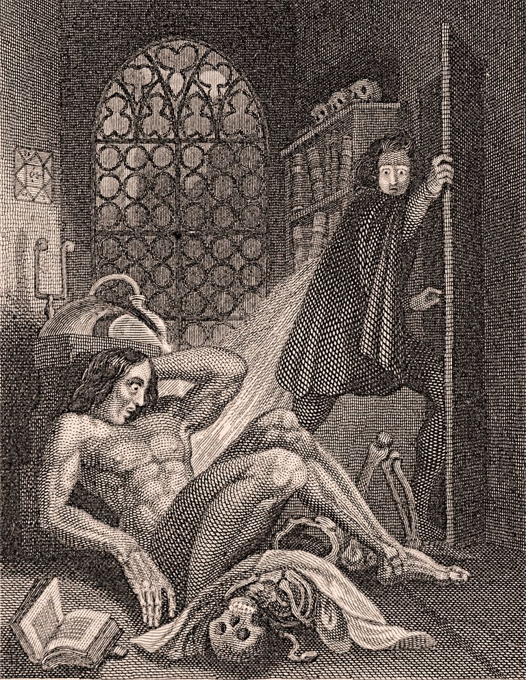 Frontispiece for 1831 Edition of Frankenstein showing Victor Frankenstein disgusted with his creation.