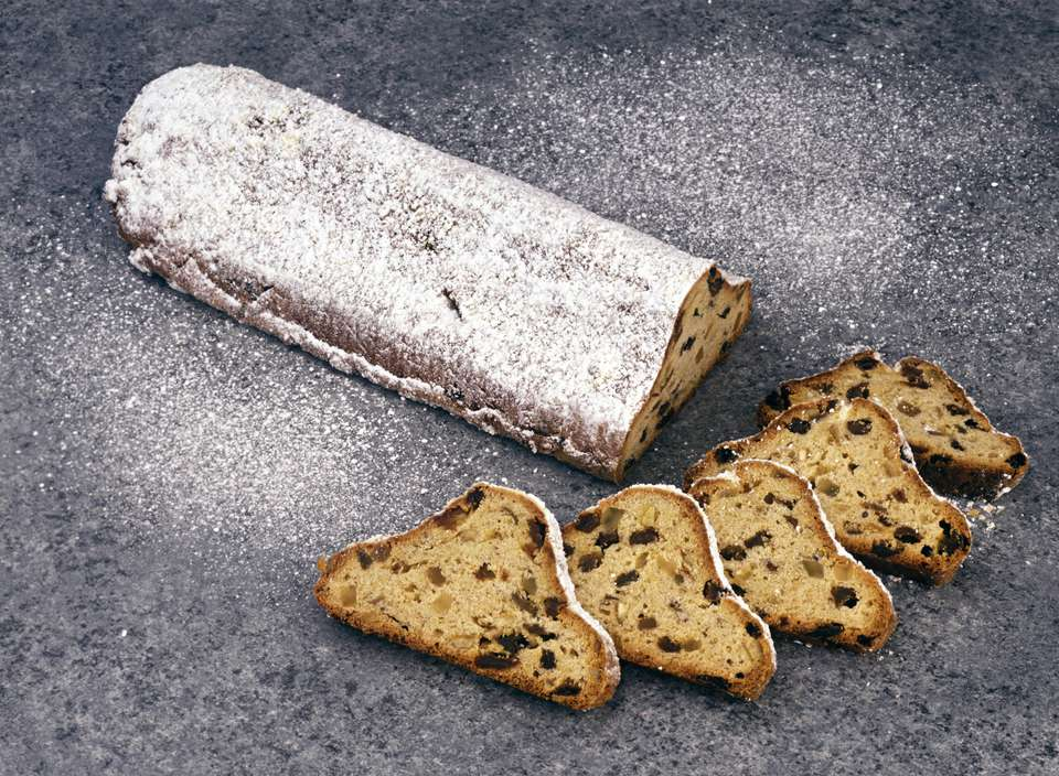 STILL LIFE OF GERMAN CHRISTMAS BREAD. STOLLEN