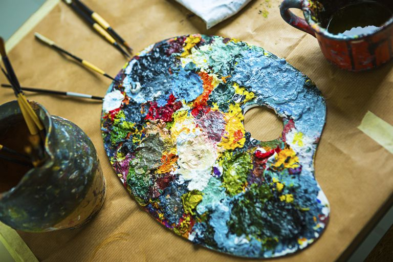 multicolored acryic paints and palette