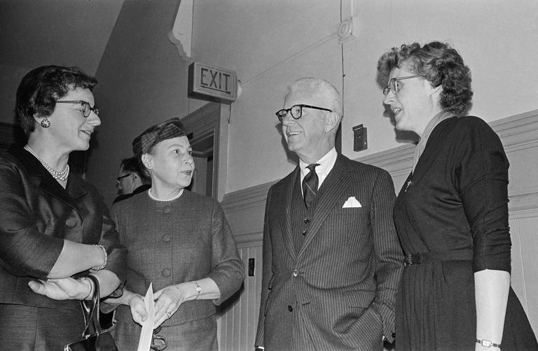 Medical Director Dr. C. Lee Buxton, (right) and Executive Director Mrs. Griswold talk with their attorney, Miss Catherine Roraback, (left) during their trial testing Connecticut's 82-year-old birth control law.