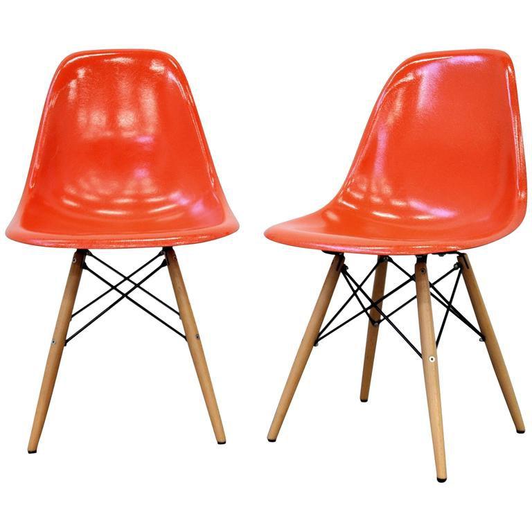 Pair of Eames Herman Miller Orange Fiberglass Dowel Chairs