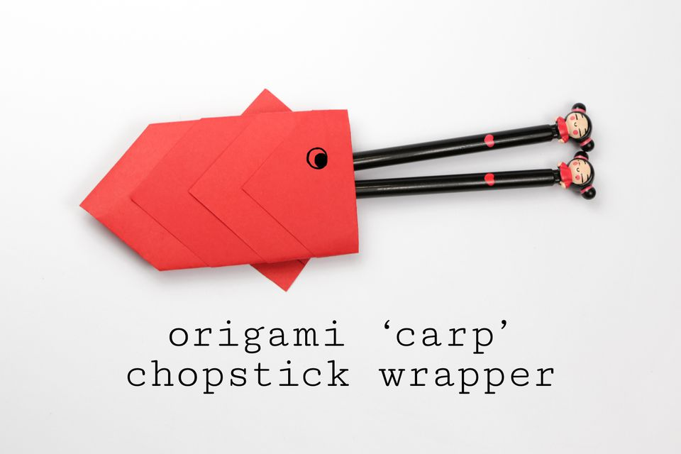 Origami carp chopstick wrapper tutorial for Origami koi fish tutorial